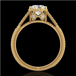 1.25 CTW VS/SI Diamond Art Deco Ring 18K Yellow Gold - REF-330M2F - 36907
