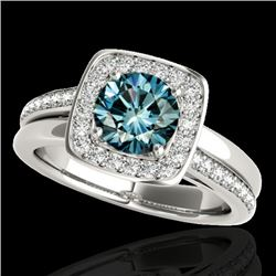 1.33 CTW SI Certified Fancy Blue Diamond Solitaire Halo Ring 10K White Gold - REF-176V4Y - 34155