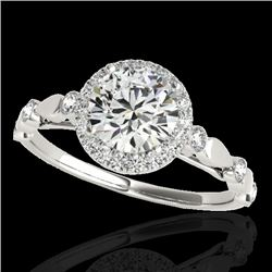 1.25 CTW H-SI/I Certified Diamond Solitaire Halo Ring 10K White Gold - REF-160H2M - 33616