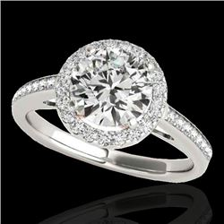1.30 CTW H-SI/I Certified Diamond Solitaire Halo Ring 10K White & Rose Gold - REF-172Y7X - 34337