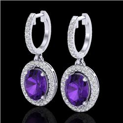 3.50 CTW Amethyst & Micro Pave VS/SI Diamond Earrings Halo 18K White Gold - REF-99W8H - 20308