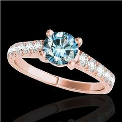 1.55 CTW SI Certified Fancy Blue Diamond Solitaire Ring 10K Rose Gold - REF-207W3H - 35495