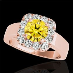 1.55 CTW Certified SI/I Fancy Intense Yellow Diamond Solitaire Halo Ring 10K Rose Gold - REF-174K5W