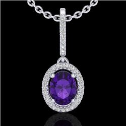 1.75 CTW Amethyst & Micro Pave VS/SI Diamond Necklace Halo 18K White Gold - REF-53H8M - 20647