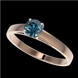 0.56 CTW Certified Intense Blue SI Diamond Solitaire Engagement Ring 10K Rose Gold - REF-50A3V - 364