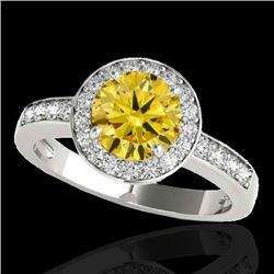 2 CTW Certified SI/I Fancy Intense Yellow Diamond Solitaire Halo Ring 10K White Gold - REF-355Y5X -