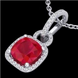 3 CTW Ruby & Micro VS/SI Diamond Certified Necklace 18K White Gold - REF-76R4K - 22988