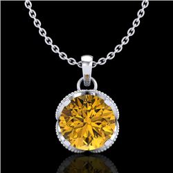 1.13 CTW Intense Fancy Yellow Diamond Art Deco Stud Necklace 18K White Gold - REF-136V4Y - 37427