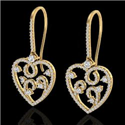 2.50 CTW VS/SI Diamond Certified Micro Pave Designer Earrings 14K Yellow Gold - REF-179H3M - 20098