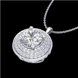 1.25 CTW VS/SI Diamond Solitaire Art Deco Necklace 18K White Gold - REF-272M7F - 37259