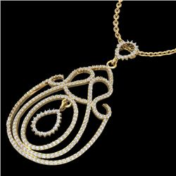 2 CTW Micro Pave Designer VS/SI Diamond Certified Necklace 14K Yellow Gold - REF-149K5W - 22451