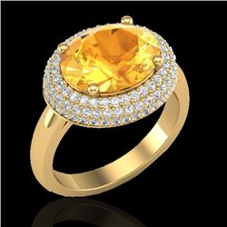 4 CTW Citrine & Micro Pave VS/SI Diamond Certified Ring 18K Yellow Gold - REF-98H5M - 20912