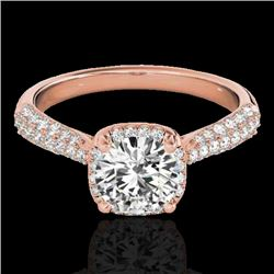 1.50 CTW H-SI/I Certified Diamond Solitaire Halo Ring 10K Rose Gold - REF-177M6F - 33259