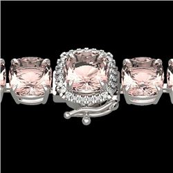 35 CTW Morganite & Micro Pave VS/SI Diamond Halo Bracelet 14K White Gold - REF-494W4H - 23315