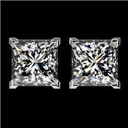 2.50 CTW Certified VS/SI Quality Princess Diamond Stud Earrings 10K White Gold - REF-840Y2X - 33114