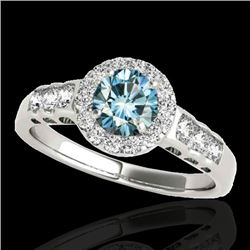 1.55 CTW SI Certified Fancy Blue Diamond Solitaire Halo Ring 10K White Gold - REF-180R2K - 34365