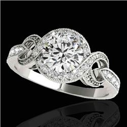1.33 CTW H-SI/I Certified Diamond Solitaire Halo Ring 10K White Gold - REF-159N6A - 33805