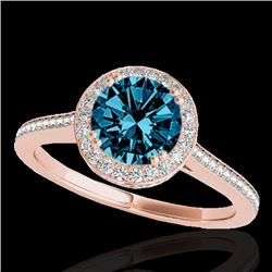 1.55 CTW SI Certified Fancy Blue Diamond Solitaire Halo Ring 10K Rose Gold - REF-180X2R - 33532