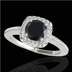 1.25 CTW Certified VS Black Diamond Solitaire Halo Ring 10K White Gold - REF-58M7F - 33826