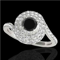 2.11 CTW Certified VS Black Diamond Solitaire Halo Ring 10K White Gold - REF-96F9N - 34516