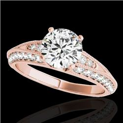 1.58 CTW H-SI/I Certified Diamond Solitaire Antique Ring 10K Rose Gold - REF-172N7A - 34622