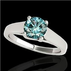 1 CTW SI Certified Fancy Blue Diamond Solitaire Ring 10K White Gold - REF-138X2R - 35530