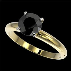 1.50 CTW Fancy Black VS Diamond Solitaire Engagement Ring 10K Yellow Gold - REF-47Y3X - 32927