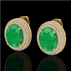 9.20 CTW Emerald & Micro Pave VS/SI Diamond Certified Earrings 18K Yellow Gold - REF-190K2W - 20224