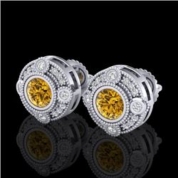 1.50 CTW Intense Fancy Yellow Diamond Art Deco Stud Earrings 18K White Gold - REF-178M2F - 37700