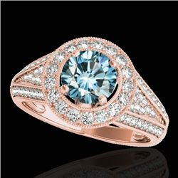 1.70 CTW SI Certified Fancy Blue Diamond Solitaire Halo Ring 10K Rose Gold - REF-200H2M - 33973