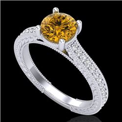 1.45 CTW Intense Fancy Yellow Diamond Engagement Art Deco Ring 18K White Gold - REF-209R3K - 37756