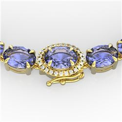 80 CTW Tanzanite & VS/SI Diamond Tennis Micro Halo Necklace 14K Yellow Gold - REF-890H9M - 23479