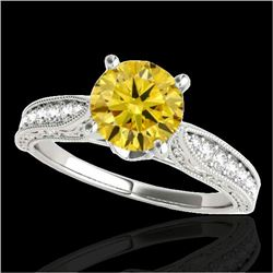1.21 CTW Certified SI Intense Yellow Diamond Solitaire Antique Ring 10K White Gold - REF-161A8V - 34