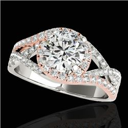 2 CTW H-SI/I Certified Diamond Solitaire Halo Ring 10K White & Rose Gold - REF-345N5A - 33840