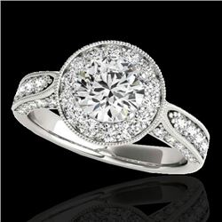 2 CTW H-SI/I Certified Diamond Solitaire Halo Ring 10K White Gold - REF-253F6N - 34495