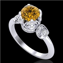 1.75 CTW Intense Fancy Yellow Diamond Engagement Art Deco Ring 18K White Gold - REF-236M4F - 37406