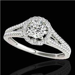 1.30 CTW H-SI/I Certified Diamond Solitaire Halo Ring 10K White Gold - REF-167N3A - 33882