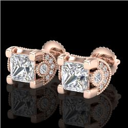 2.5 CTW Princess VS/SI Diamond Art Deco Stud Earrings 18K Rose Gold - REF-642X2R - 37152