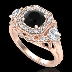 2.11 CTW Fancy Black Diamond Solitaire Art Deco 3 Stone Ring 18K Rose Gold - REF-180W2H - 38298
