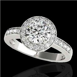 2 CTW H-SI/I Certified Diamond Solitaire Halo Ring 10K White Gold - REF-355F5N - 34351