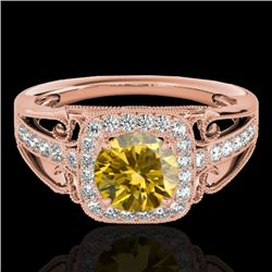 1.30 CTW Certified SI/I Fancy Intense Yellow Diamond Solitaire Halo Ring 10K Rose Gold - REF-236M4F