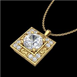 1.02 CTW VS/SI Diamond Solitaire Art Deco Necklace 18K Yellow Gold - REF-200N2A - 37273