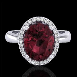 2.50 CTW Garnet And Micro Pave VS/SI Diamond Certified Ring Halo 18K White Gold - REF-50X2R - 21106