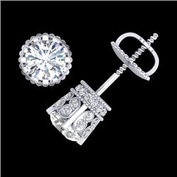 3 CTW VS/SI Diamond Solitaire Art Deco Stud Earrings 18K White Gold - REF-584Y3X - 36836