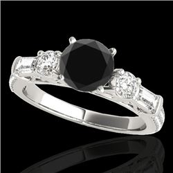 2 CTW Certified VS Black Diamond Pave Solitaire Ring 10K White Gold - REF-129N6A - 35474