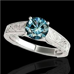 1.50 CTW SI Certified Fancy Blue Diamond Solitaire Antique Ring 10K White Gold - REF-236Y4X - 35196