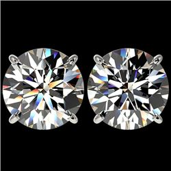 5 CTW Certified H-SI/I Quality Diamond Solitaire Stud Earrings 10K White Gold - REF-1740H2M - 33142