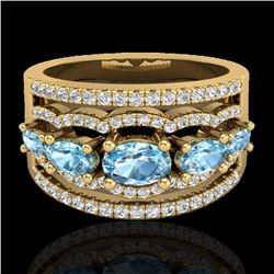 2.25 CTW Sky Blue Topaz & Micro Pave VS/SI Diamond Designer Ring 10K Yellow Gold - REF-72N2A - 20796