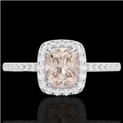 1.25 CTW Morganite & Micro Pave VS/SI Diamond Certified Halo Ring 10K White Gold - REF-40N9A - 22906