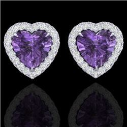 2 CTW Amethyst & Micro Pave VS/SI Diamond Earrings Heart Halo 14K White Gold - REF-42X7R - 21199